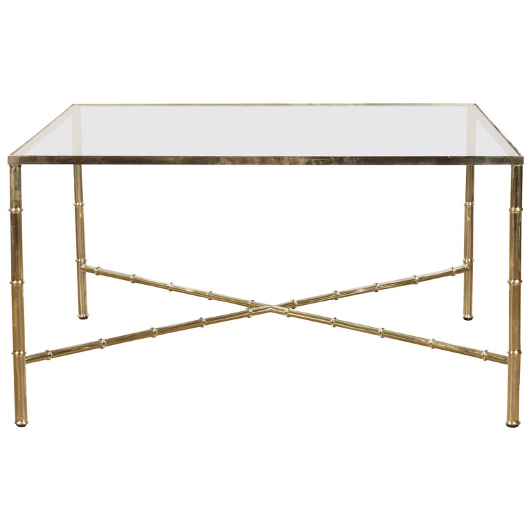 Italian Midcentury Brass Coffee Table with Glass Top and X-Form Cross Stretcher For Sale