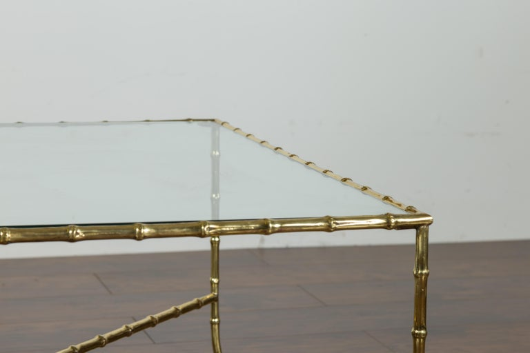 Italian Midcentury Brass Faux Bamboo Coffee Table with Glass Top and Stretcher For Sale 5