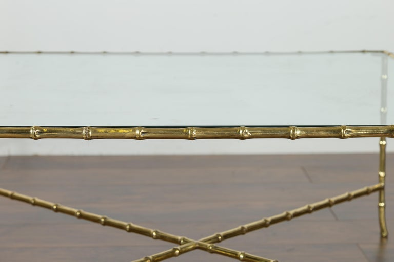 Italian Midcentury Brass Faux Bamboo Coffee Table with Glass Top and Stretcher For Sale 6