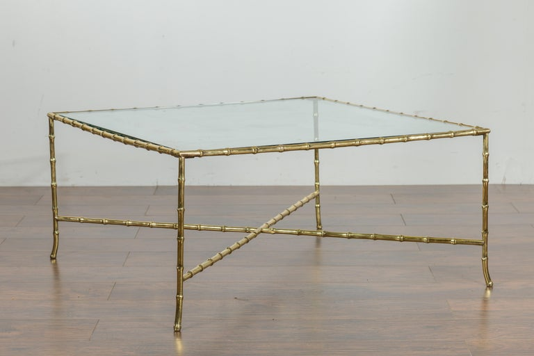 Italian Midcentury Brass Faux Bamboo Coffee Table with Glass Top and Stretcher For Sale 8