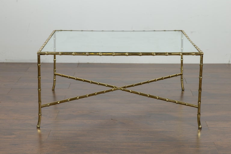Italian Midcentury Brass Faux Bamboo Coffee Table with Glass Top and Stretcher For Sale 9