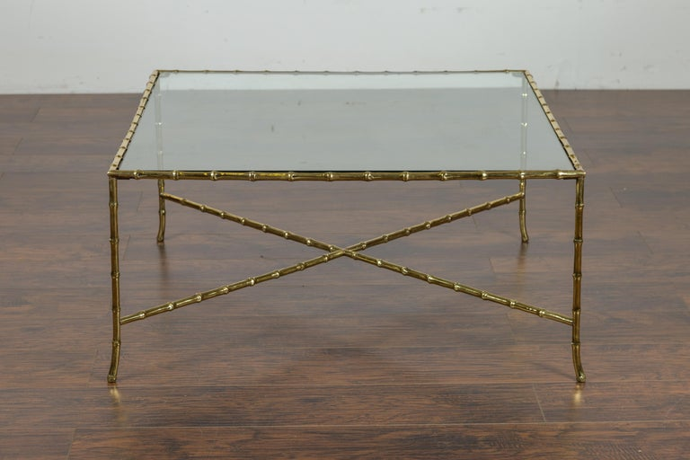 Mid-Century Modern Italian Midcentury Brass Faux Bamboo Coffee Table with Glass Top and Stretcher For Sale