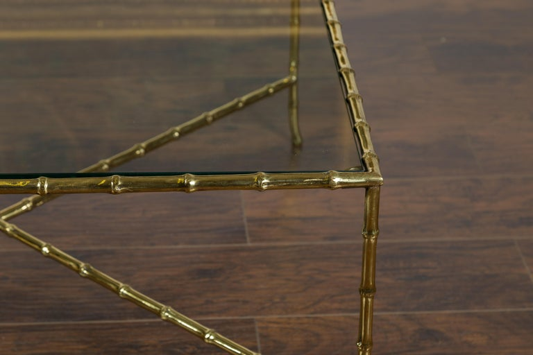 20th Century Italian Midcentury Brass Faux Bamboo Coffee Table with Glass Top and Stretcher For Sale