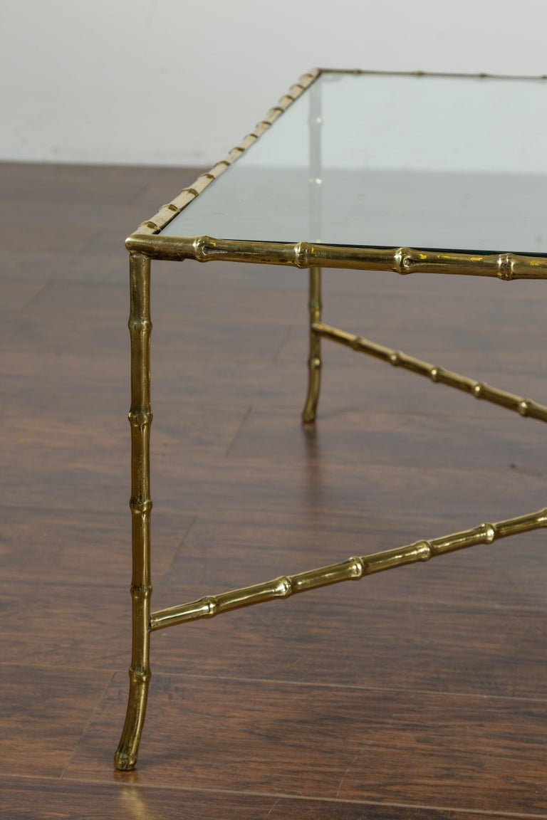 Italian Midcentury Brass Faux Bamboo Coffee Table with Glass Top and Stretcher For Sale 1