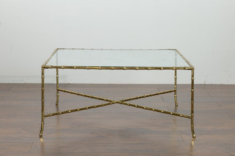 Italian Midcentury Brass Faux Bamboo Coffee Table with Glass Top and Stretcher For Sale 2