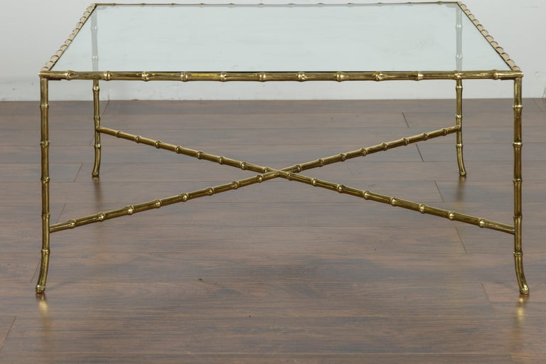 Italian Midcentury Brass Faux Bamboo Coffee Table with Glass Top and Stretcher For Sale 3