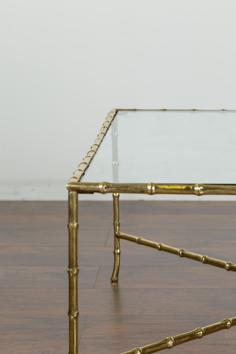 Italian Midcentury Brass Faux Bamboo Coffee Table with Glass Top and Stretcher For Sale 4