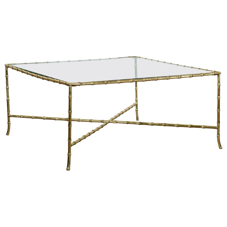 Italian Midcentury Brass Faux Bamboo Coffee Table with Glass Top and Stretcher For Sale