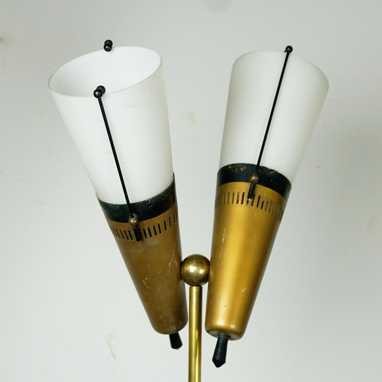 Italian Midcentury Brass, Glass and Marble Floor Lamp by Bruno Chiarini For Sale 2