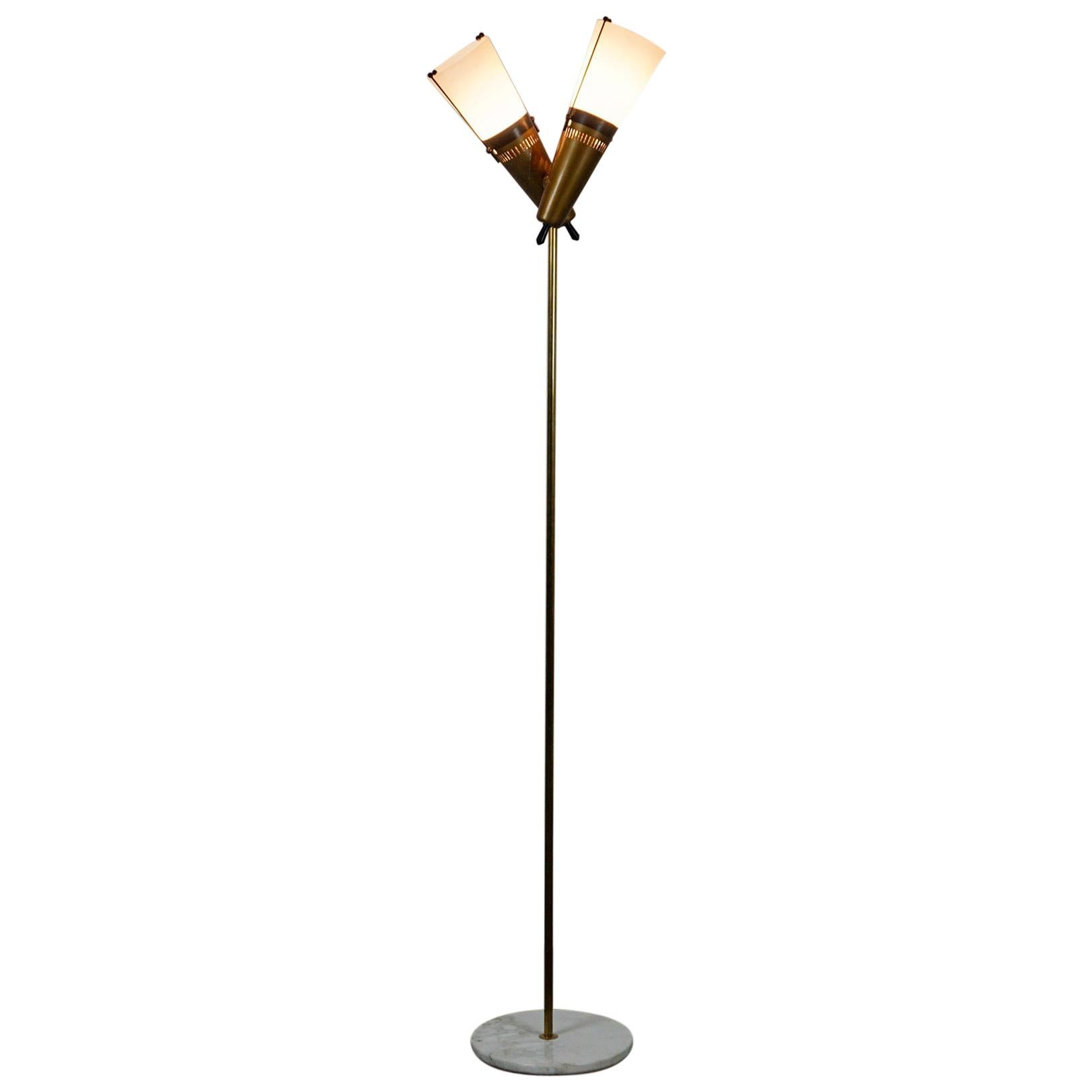 Italian Midcentury Brass, Glass and Marble Floor Lamp by Bruno Chiarini
