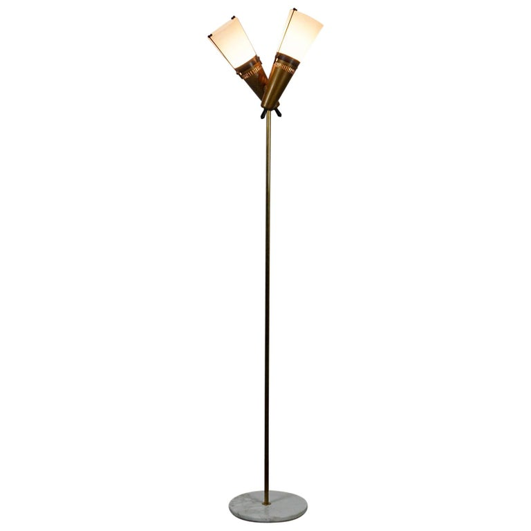 Italian Midcentury Brass, Glass and Marble Floor Lamp by Bruno Chiarini For Sale