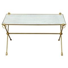 Italian Midcentury Brass Hoof Feet Coffee Table with Mirrored Top, X-Form Base