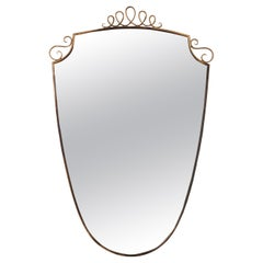Italian Midcentury Brass Mirror with Decoration in the Style of Gio Ponti, 1950s