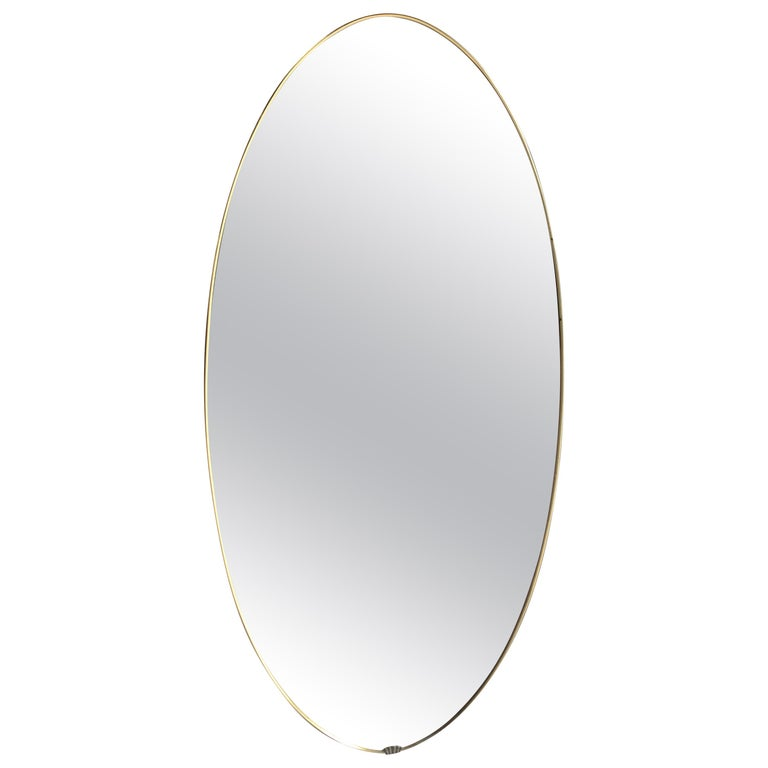 Italian Midcentury Brass Oval Mirror, 1950s For Sale