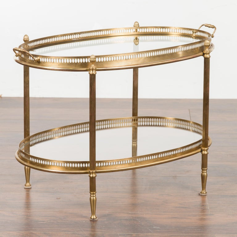 Italian Midcentury Brass Oval Side Table with Pierced Gallery and Glass Shelves For Sale 5