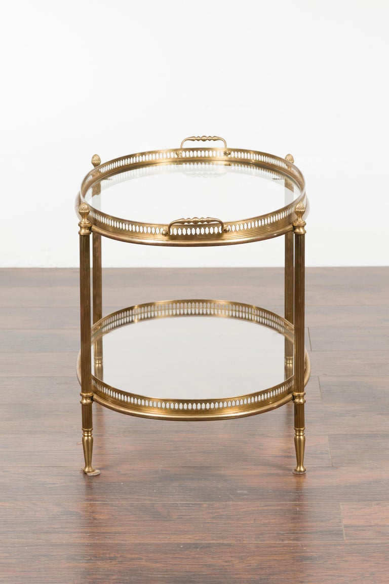 Italian Midcentury Brass Oval Side Table with Pierced Gallery and Glass Shelves For Sale 6