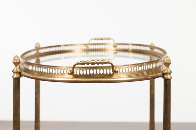 Italian Midcentury Brass Oval Side Table with Pierced Gallery and Glass Shelves For Sale 7