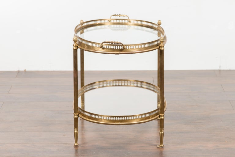Italian Midcentury Brass Oval Side Table with Pierced Gallery and Glass Shelves For Sale 9