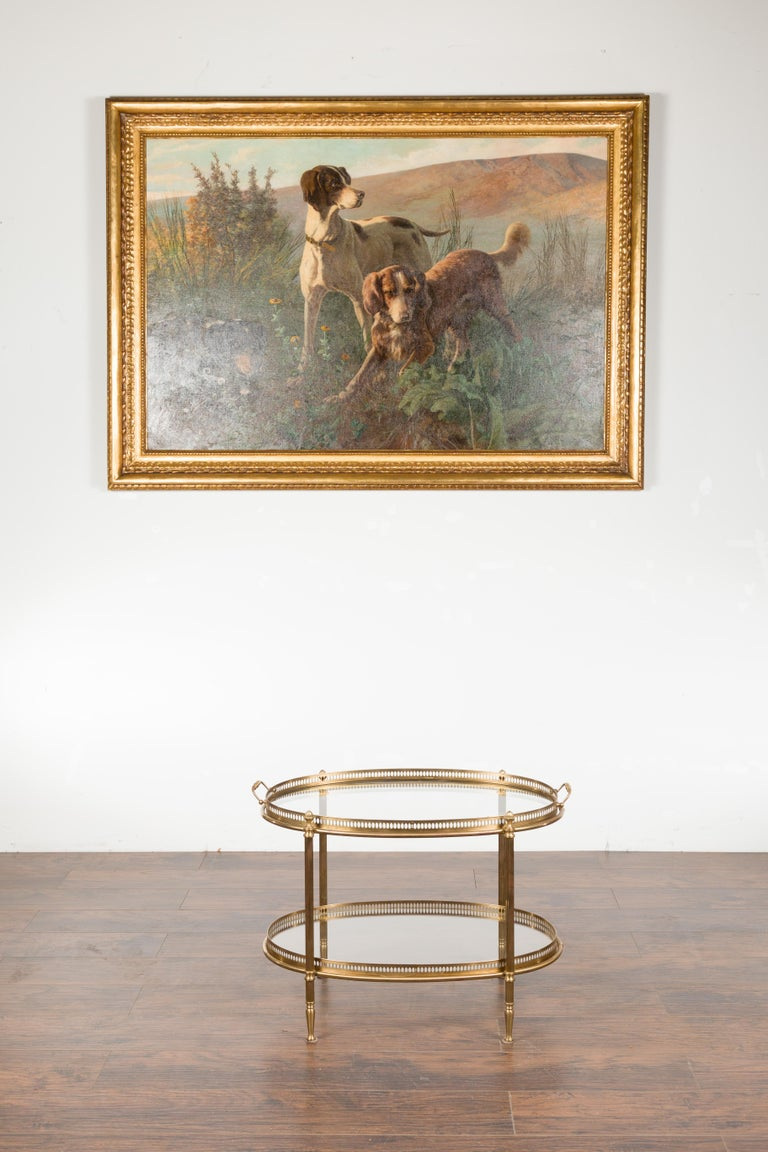Mid-Century Modern Italian Midcentury Brass Oval Side Table with Pierced Gallery and Glass Shelves For Sale