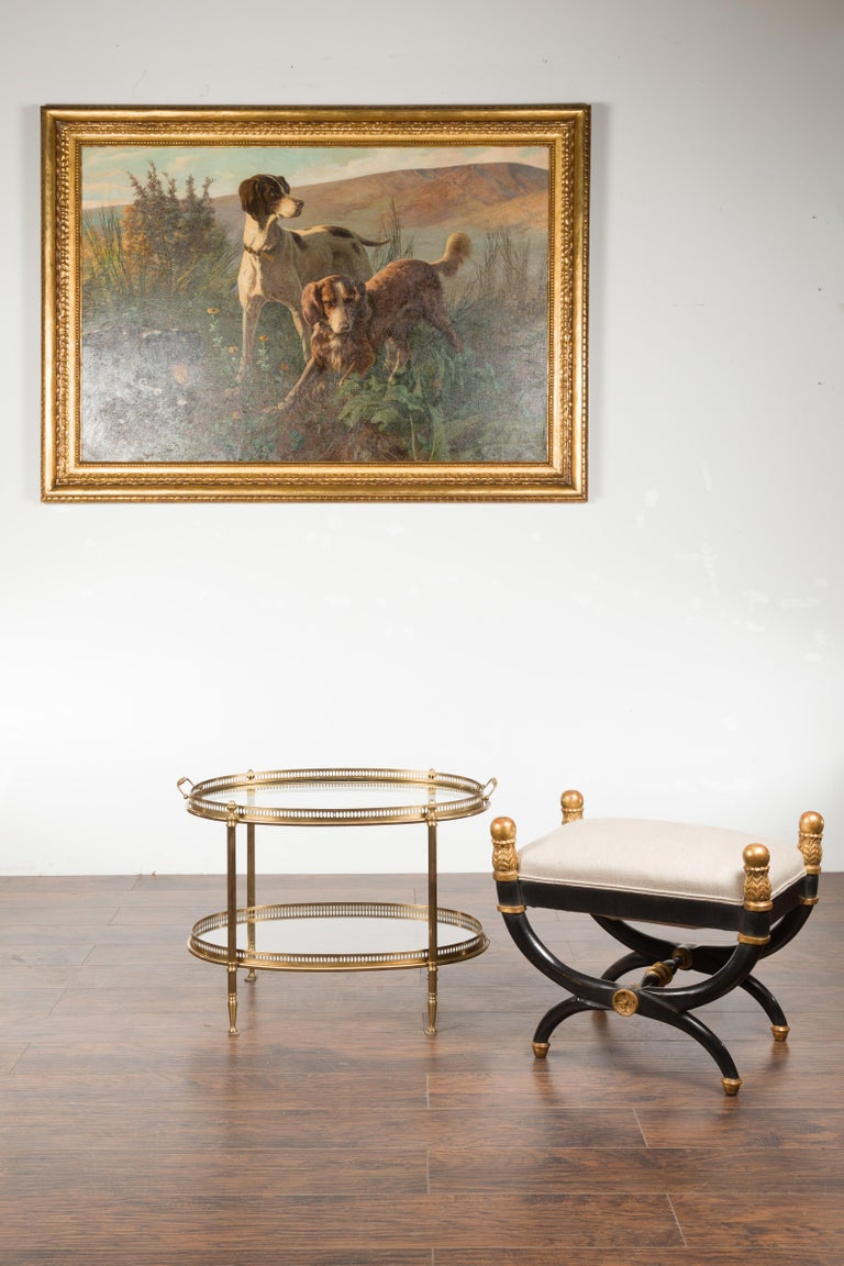 Italian Midcentury Brass Oval Side Table with Pierced Gallery and Glass Shelves In Good Condition For Sale In Atlanta, GA