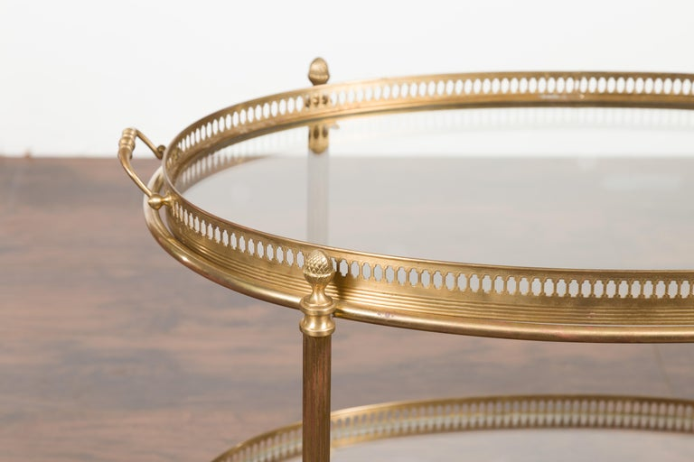 Italian Midcentury Brass Oval Side Table with Pierced Gallery and Glass Shelves For Sale 1