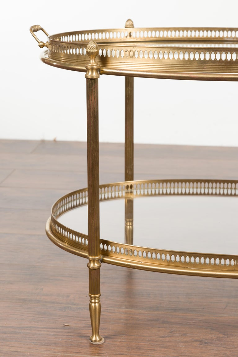 Italian Midcentury Brass Oval Side Table with Pierced Gallery and Glass Shelves For Sale 2