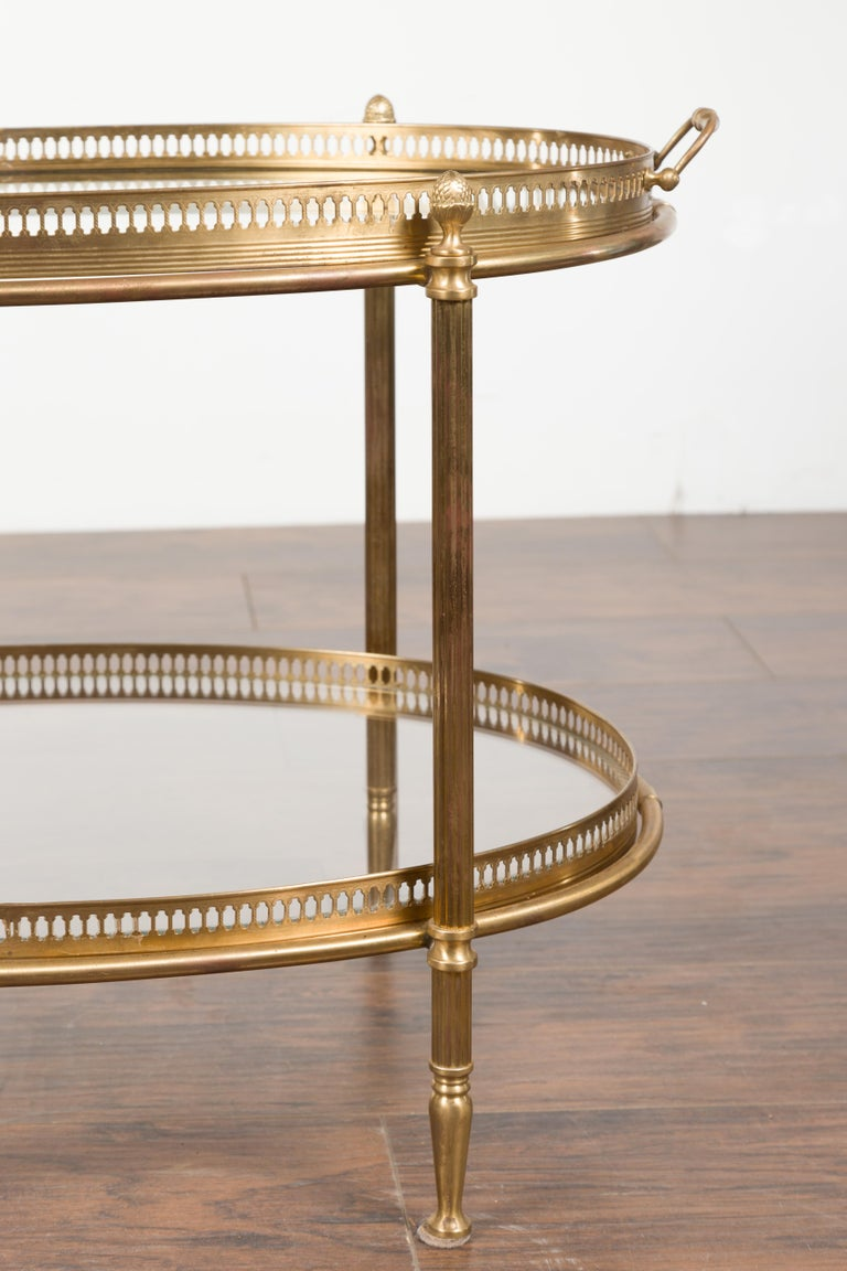 Italian Midcentury Brass Oval Side Table with Pierced Gallery and Glass Shelves For Sale 3