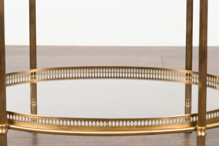 Italian Midcentury Brass Oval Side Table with Pierced Gallery and Glass Shelves For Sale 4