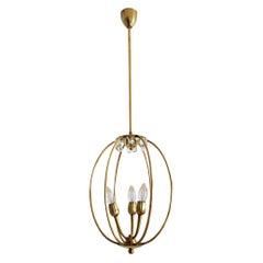 Italian Midcentury Brass Pendant Lamp in Minimal Design, 1950s
