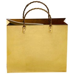 Italian Midcentury Brass Shopping Bag Tote in the Manner of Gio Ponti circa 1950