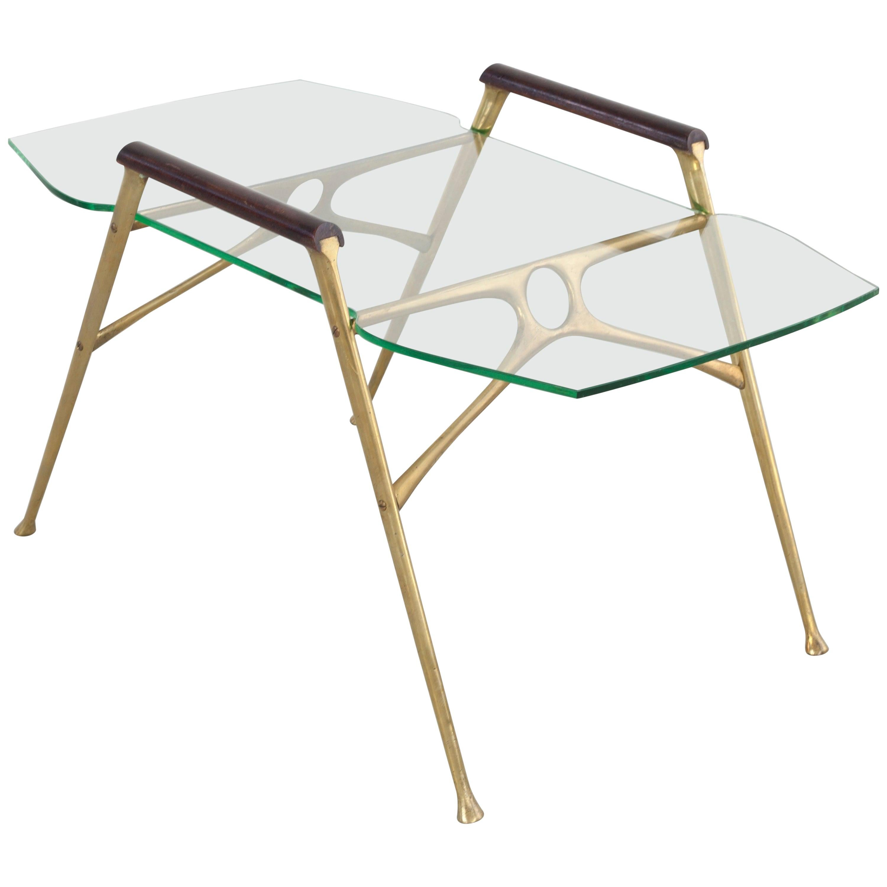 Italian Midcentury Brass Side Table with Glass Top