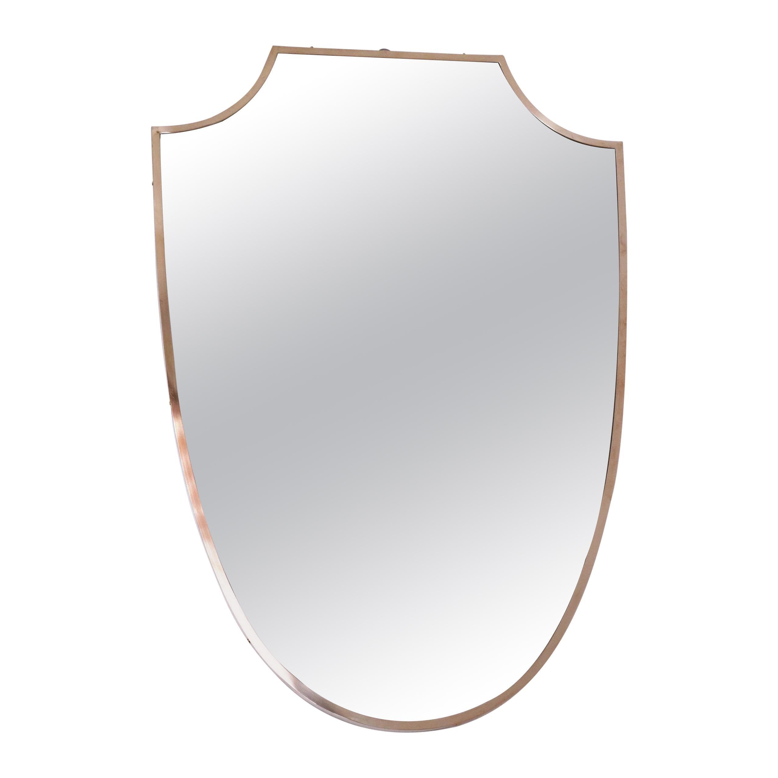 Italian Midcentury Brass Wall Mirror Shield Shape, 1950s
