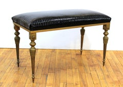 Italian Midcentury Bronze Bench with Faux Alligator Black Patent Leather