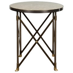 Italian Midcentury Bronze Side Table with Variegated Marble Top and Paw Feet