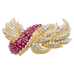 Italian Midcentury Burmese Ruby and Diamond Brooch in 18k Yellow and White Gold