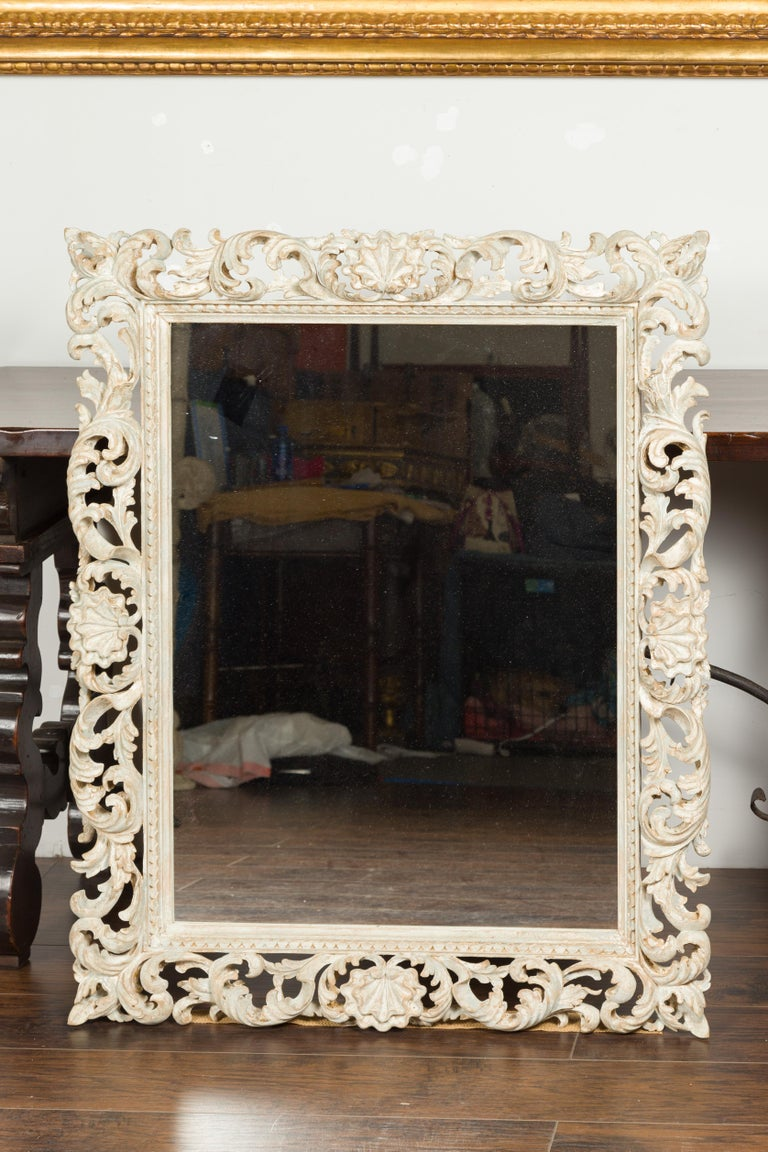 Mid-Century Modern Italian Midcentury Carved Mirror with Scrolling Acanthus Leaves and Shell Motifs For Sale
