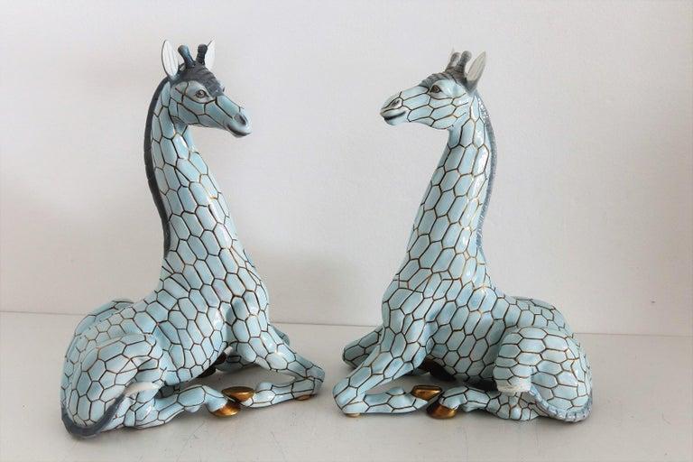 Italian Midcentury Ceramic Giraffe by Giovanni Ronzan, Turin 1950s, Set of Two For Sale 9