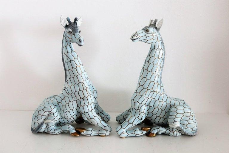Mid-Century Modern Italian Midcentury Ceramic Giraffe by Giovanni Ronzan, Turin 1950s, Set of Two For Sale