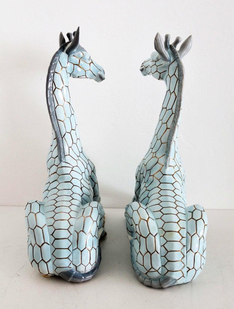 Mid-20th Century Italian Midcentury Ceramic Giraffe by Giovanni Ronzan, Turin 1950s, Set of Two For Sale