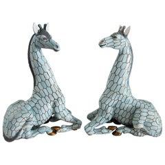 Italian Midcentury Ceramic Giraffe by Giovanni Ronzan, Turin 1950s, Set of Two