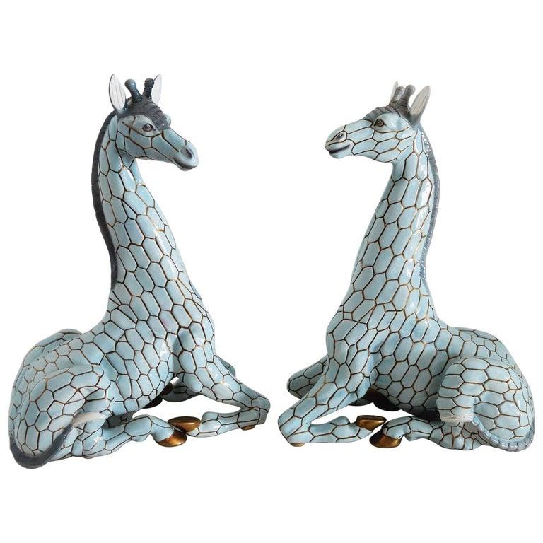 Italian Midcentury Ceramic Giraffe by Giovanni Ronzan, Turin 1950s, Set of Two For Sale
