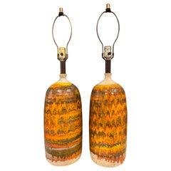 Italian Midcentury Ceramic Lamps in the Manner of Fantoni