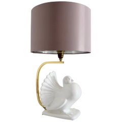 Italian Midcentury Ceramic Table Lamp with Brass in Dove Pigeon Shape, 1970s