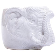 Italian Midcentury Ceramic White Elephant Planter