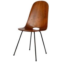 Italian Midcentury Chair by Vittorio Nobili Made of Plywood with Teak Veneer