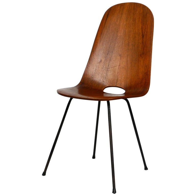 Italian Midcentury Chair by Vittorio Nobili Made of Plywood with Teak Veneer For Sale