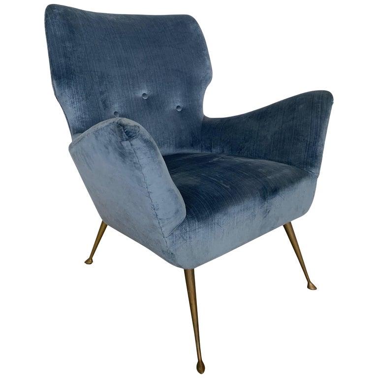 Italian Midcentury Chair with Blue Velvet Upholstery For Sale
