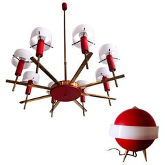 Italian Midcentury Chandelier and Table Lamp by Angelo Brotto for Esperia, 1950s