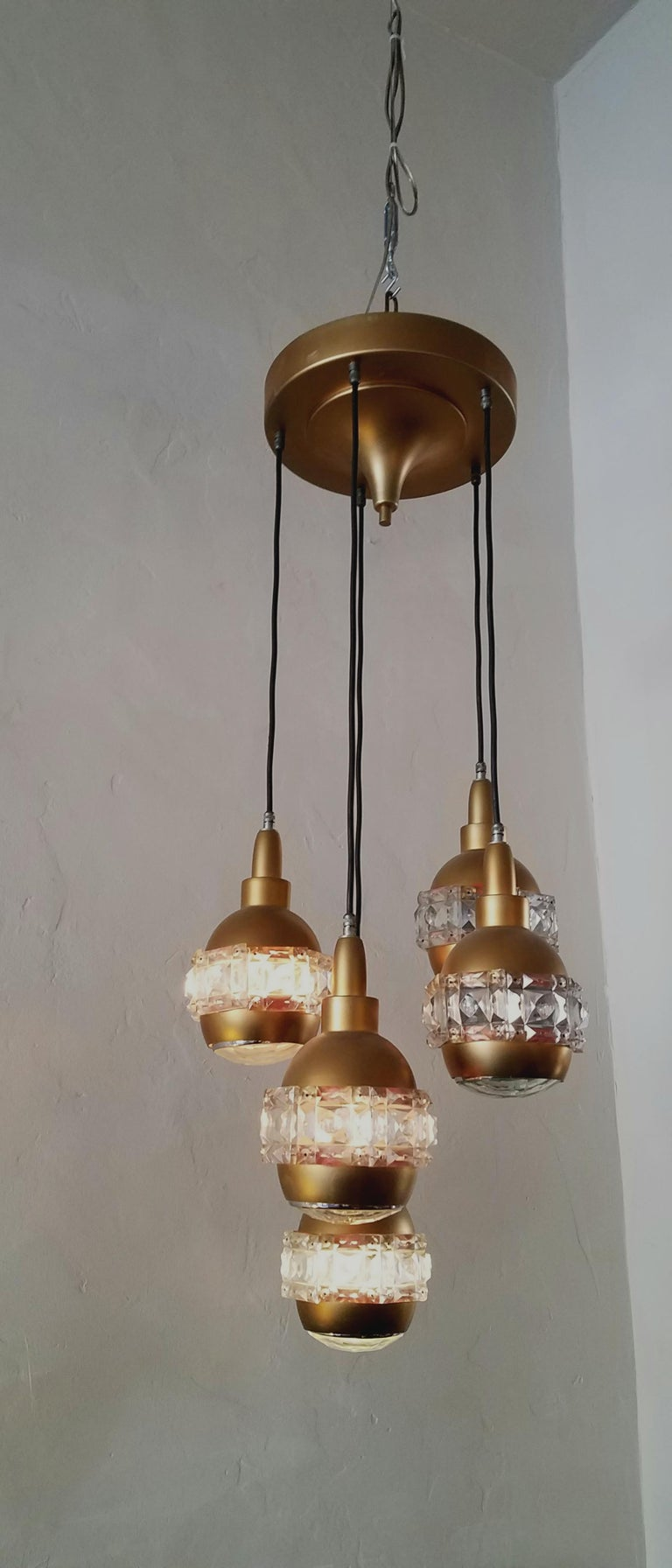 Italian Midcentury Chandelier Attributed to O'luce In Good Condition For Sale In Los Angeles, CA