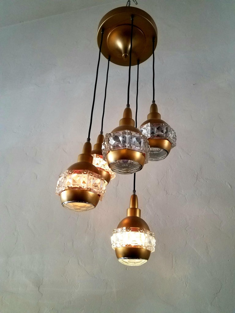 Mid-20th Century Italian Midcentury Chandelier Attributed to O'luce For Sale